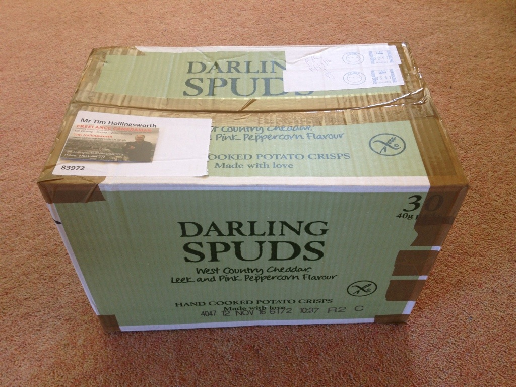 A giant gift box of crisps from those nice people at Darling Spuds