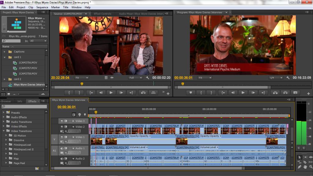 Freelance Cameraman Editing the Interview With Medium Rhys Wynn Davies